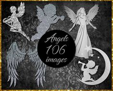 Silver Angel Clip Art Etsy Store, Card Stock, Vibrant Colors, Banner, Clip Art, Silver, Image, Banner Stands, Vivid Colors