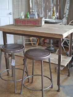Industrial Island and Stools