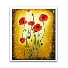 Flower Art Print  Red Poppy Autumn Wall Decor  by hjmArtGallery, $30.00
