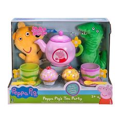 Pig Tea Party Set - 11 Piece - With sounds Little Girl Toys, Baby Girl Toys, Baby Dolls, Toy Cars For Kids, Toys For Girls, Kids Toys, Pig Party, Tea Party Birthday, Pig Birthday
