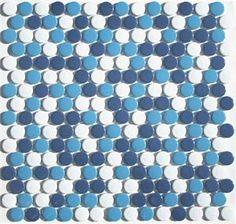 Summertime Blues Penny Tile Blend Navy Aqua White