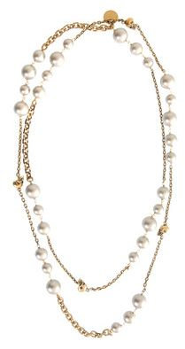 Alexander McQueen gold skull and pearl necklace