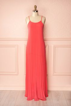 Joselin Bright - Bright pink pleated maxi dress