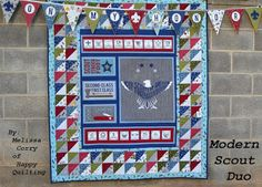 I am so excited to be sharing a new Riley Blake Design Team tutorial with you today! When I first saw the Modern Scouting Fabric line I . Quilting Projects, Quilting Designs, Quilting Ideas, Eagle Scout Ceremony, Charm Pack Quilts, Panel Quilts, Shirt Quilt, Riley Blake, Cub Scouts