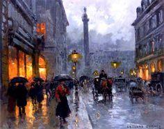 Édouard Leon Cortès (French, 1882 - 1969) - Place Vendome In The Rain. Oil on canvas, 55.2 x 45.7 cm