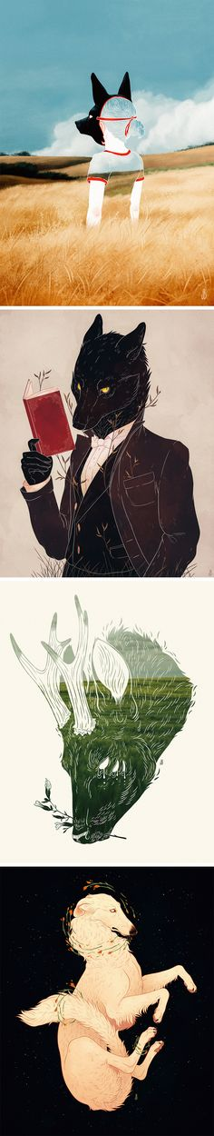 Mysterious Anthropomorphic Illustrations of Dogs, Foxes, and Deer by Jenna Barton