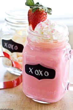 Strawberry White Hot Chocolate | Made with fresh strawberry puree!
