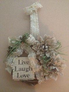 Primitive Grapevine Wreath Live Laugh Love Burlap Sign Flowers Mother's Day Gift