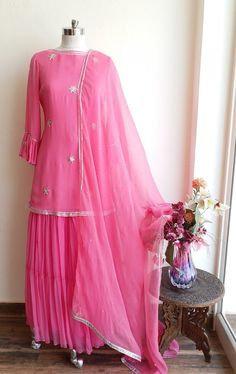 Excited to share this item from my shop: Pink Gota Patti Sharara Set Pakistani Dress Design, Pakistani Dresses, Indian Dresses, Indian Outfits, Kurti Designs Party Wear, Kurta Designs, Blouse Designs, Pink Colour Dress, Pink Dress