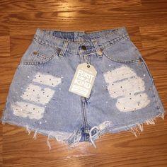 Vintage Rhinestone shorts Light jean shorts 26in waist 12 in long hip 34 in LF Jeans