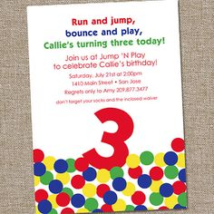Bouncy Ball Bounce House Printable Birthday Party by partymonkey. , via Etsy.