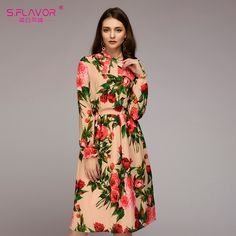 2018 new women printing dress S. Bohemian Style Dresses, Boho Outfits, Autumn Clothes, Long Summer Dresses, Maxi Dress With Sleeves, Festival Outfits, Designer Dresses, Fashion Dresses, Long Sleeve
