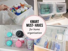 The ultimate Kmart must haves for an organised home! I mean whats better than Kmart and organisation? Apart from 6 hours uninterrupted sleep! Under Sink Organization, Kitchen Organization Pantry, Home Organization Hacks, Bathroom Organisation, Organising Ideas, Closet Organization, Storage Tubs, Small Bathroom Storage, Cupboard Storage