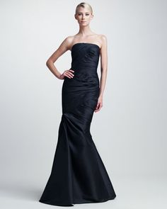 Asymmetric Ruched Gown by ML Monique Lhuillier at Neiman Marcus.