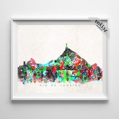 Rio De Janeiro Skyline, Print, Brazil Poster, Cityscape, Watercolor Painting, Latin America Poster, Home Decor, Christmas Gift. Wall Art. PRICES FROM $9.95. CLICK PHOTO FOR DETAILS. #inkistprints #skyline #watercolor #watercolour #giftforher #homedecor #nursery #wallart #walldecor #poster #print #christmas #christmasgift #weddinggift #nurserydecor #mothersdaygift #fathersdaygift #babygift #valentinesdaygift #dorm #decor #livingroom #bedroom