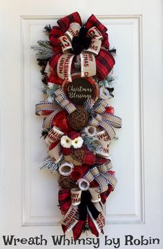 Christmas Swag in Tan, Red & Black with Buffalo Plaid Owl and Christmas Blessings Sign, Holiday Decor, Christmas Wreath, Owl Decor by WreathWhimsybyRobin on Etsy