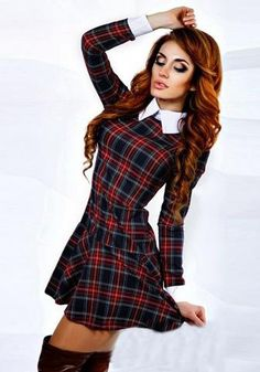 5a8faa0ad5e Red Plaid Ruffle Tartan Peter Pan Collar Long Sleeve Mini Dress Red Plaid
