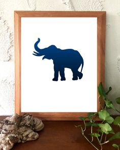 Printable Instant Download Navy Blue and White Minimalist Print Elephant Animal  by BoodaDesigns on Etsy