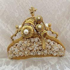Renaissance Headpiece, Royal Wedding Crown, Gold Tiara, Bridal Crown, Angels, Victorian Steampunk wedding Accessory