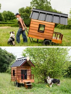 The tiny house town movement in going to the dogs! Check out this adorable dog house a tiny house owner made for her dog to match her own home!