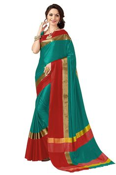 f31a0d8140f4c4 joshindia dark green and red color designer silk printed Party Wear saree  with blouse