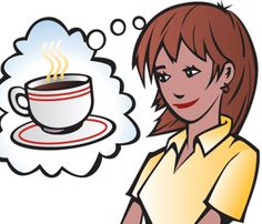 illustration of Young woman, girl, adult thinking of having a cup of American coffee