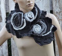 Crochet Scarf Capelet Cape Black Grey White Neck by Degra2