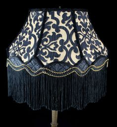 ~Victorian Modern Lampshade in Black and Gold Damask. Fully Lined, Gold Trim, Fringed, with Crinkle Silk ~