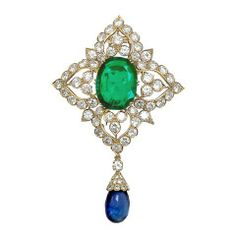 Van Cleef & Arpels Important Old Mine Colombian Emerald and Sapphire Brooch