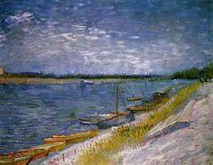 """Vincent van Gogh (1853-1890) """" La rive avec la barque."""""""