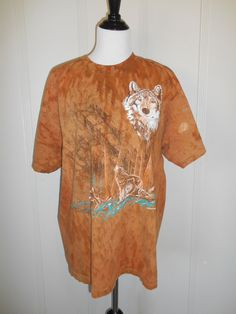 Vintage 90s wolf wolves  tee t shirt    90s by ATELIERVINTAGESHOP
