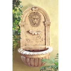 Courtyard Water Feature: Lion Head Wall-Mounted Garden Fountain.