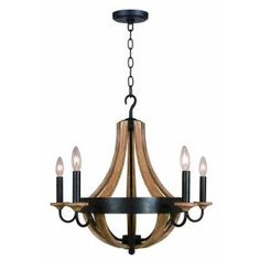 Love the rustic feel of this for the entry way.  Hampton Bay Talo 5-Light 83-1/4 in. Driftwood Chandelier