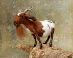 Gaston the Goat: Day 38 Brown Needle Felted Goat. $95.00, via Etsy.