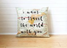 Brown bear travel buddy by noodle head nh87 adorable gift list quote pillow i want to travel the world with you world map pillow map decor world gumiabroncs Choice Image