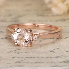 Limited Time Sale Trilogy Three Stone 1.10 carat Morganite and