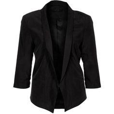 Gestuz FISTJA Blazer ($145) ❤ liked on Polyvore featuring outerwear, jackets, blazers, tops, coats, black, women's outerwear, gestuz, black jacket and black blazer