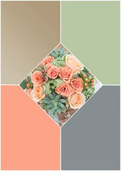 Champagne/sage green/peach/pewter gray