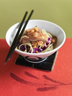 Asian hot and sour soup with duck and green tea noodles