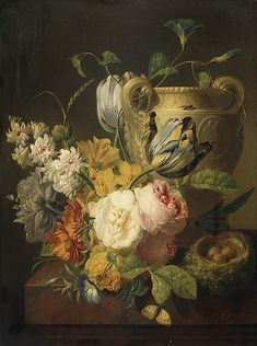 Flowers by a Stone Vase, 1786, Peter Faes. Flemish (1750-1814)