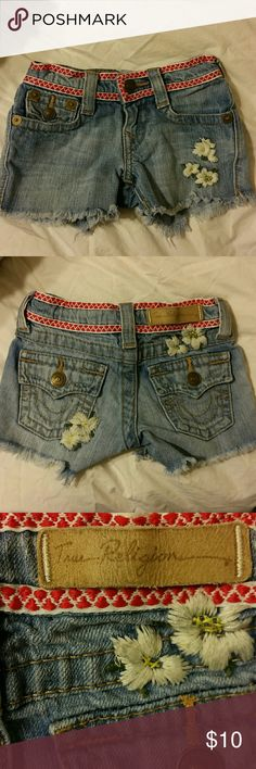 Short for tolder Worn a couple of times, good condition, embroidered flower short for tolddler True Religion Shorts Jean Shorts