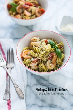 Shrimp and Pesto Pasta Toss. Glorious pasta infused with flavorful pesto and grape tomatoes bring this succulent shrimp to life:)