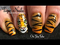 Tiger Nail Art Tutorial - DIY Freehand Tiger Face & Stripes - YouTube Tiger Stripe Nails, Tiger Nail Art, Tiger Nails, The Art Of Nails, New Nail Art, Nail Art Diy, Easy Nail Art, Nail Art Designs Videos, Simple Nail Art Designs