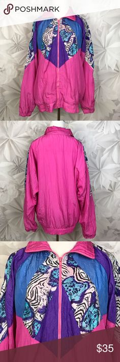 """[Vintage] 80's Windbreaker Jacket Pink Zebra Retro Amazing vintage windbreaker from the 1980's bright pink with panels of purple, blue, and zebra print. Zip front. Lined. Elastic hem and cuffs. Brand is Wind Fall.  🔹Bust: 25"""" 🔹Length: 28"""" 🔹Condition: Good pre-owned condition. Elastic on hem is slightly stretched out. Paint on zipper pull a little worn.   Measurements taken while lying flat. Vintage Jackets & Coats"""