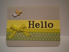 Butterfly Hello note card all occasion just because green yellow by DAWNSCRAFTCOTTAGE on Etsy