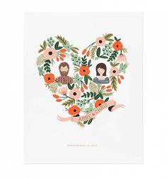 Custom Floral Heart Illustrated Portrait Print