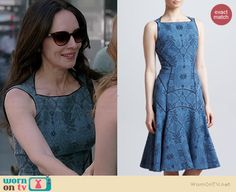 Victoria's blue lace flared dress on Revenge. Outfit Details: http://wornontv.net/38234/ #Revenge