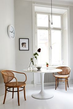 bentwood, tulip table and the conscious space white provides
