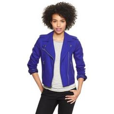 Gap purple moto jacket Gorgeous moto jacket in a rich saturated bluish purple tone. Definitely an attention grabber. Zip slant pockets. Midweight. EUC, worn once. GAP Jackets & Coats
