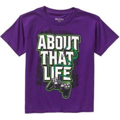 Boys' About That Life Short Sleeve Humor Graphic Tee, Size: 14/16, Purple